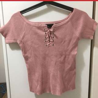 pink ribbed lace up top