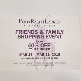 Polo Ralph Lauren 40% off discount