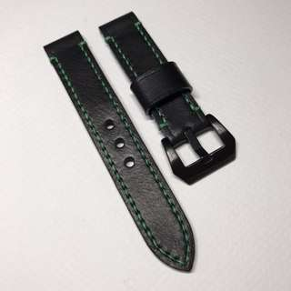 20mm Made To Order Black Leather with Green Stitching 75/125mm