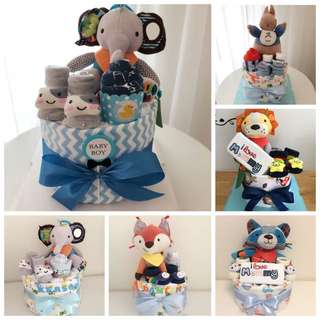Baby Diaper Cake Standard 1-Tier with Educational Toy for Full Month / New Born / 1st Birthday