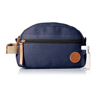 Timberland Mens Washed & Waxed Canvas Travel Kit Toiletry Organizer Bag Navy w/ mini bottle