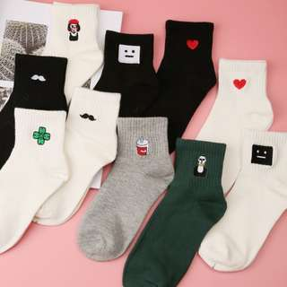 PREORDER! FREE POSTAGE! Trend Women Size New Cotton Short Socks Killer Cupid Moustache Milk Cola Leon Clover Love Smile Face Mathilda Rose Tongue indie festival ankle socks high quality