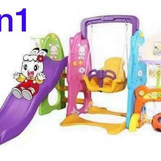 5 in 1 Kids Playground Set Slide Swing