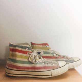 2014 Jointly American Flag Converse Chuck Taylor All Star Multi Colored Stripes High Top