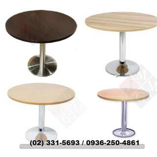 round-tables( chrome-wooden legs ) office partition
