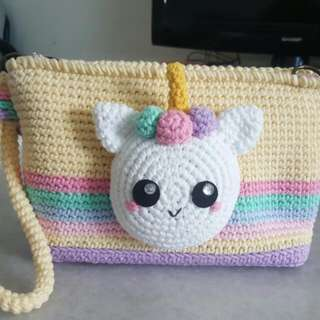Crochet Unicorn Pouch