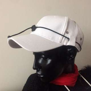 🚚 IMHF 白色 街頭 棒球帽 潮流 金屬 織帶 繩帶 釦眼 刺繡