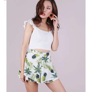TTR Cassidy ruffle shorts (white pineapple)