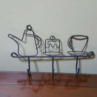 Metal Tea Pot & Cup designs Wall Hanging Hooks