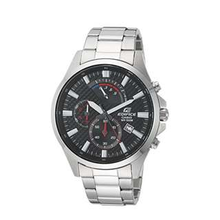 Casio Edifice Chronograph Stainless Band Date Display Black Dial EFV-530D-1AVCF