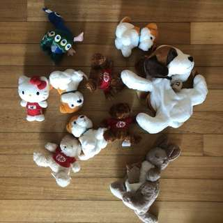 Lot of stuffed toys and bag