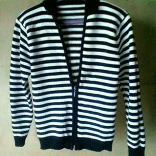 Stripes Knitted Jacket with hood