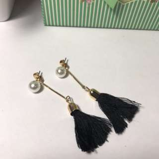 Pearl Stud Tassel Earrings