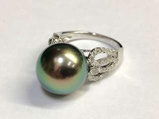 18K南洋珍珠鑽石戒指