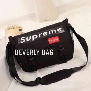 jual tas LV Slingbag Christopher Supreme LEATHER MIRROR - black