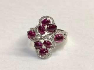18K紅寶石鑲鑽石戒指