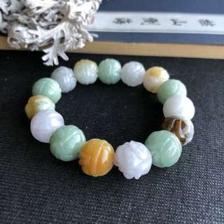 A-Grade Type A Natural Multi-Colour Jadeite Jade Lotus Flower Beaded Bracelet No.190063