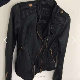 100% Real Leather Jacket w. Rose Gold Detail from Zara