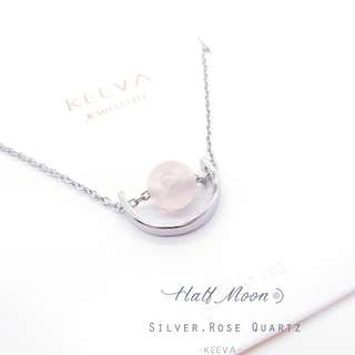 Authentic half moon 925 silver with Rhodium Plating and Rose Quartz, made in Hong Kong