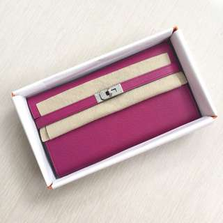 Hermes kelly wallet rose pourpre
