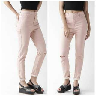 F21 Knee Ripped Pants In Blush Pink