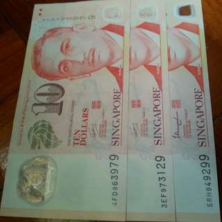 Portrait 9H9T $10 polymer note 3pcs.
