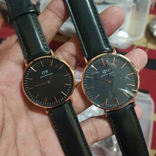 Dw daniel wellington classic black Sheffield 40mm cowok 36mm cewek cuople. Original.  Lengkap box needlepin manual book garansi dan paperbag. garansi internasional 1th.