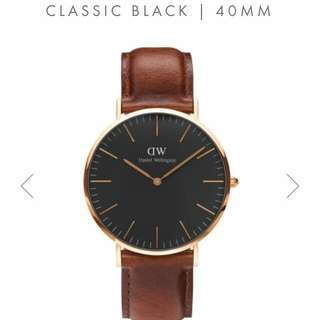 Dw daniel wellington classic black st.mawes 40mm cowok 36mm cewek cuople. Original.  Lengkap box needlepin manual book garansi dan paperbag. garansi internasional 1th.
