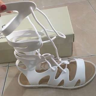High lace up sandals