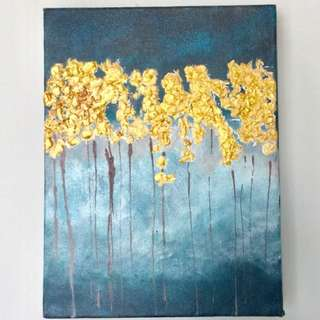 Gold Leaf Forest Small Painting