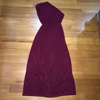 Maroon Toga Maxi Dress