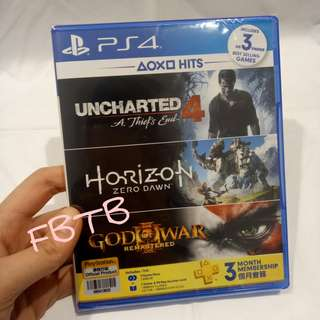 PS4 Hits Game (Uncharted 4 + Horizon Zero Dawn + God Of War + 3month PS PLUS)