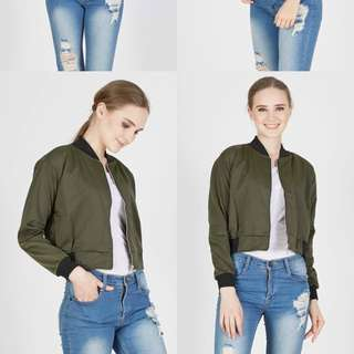 Women Crop Bomber Jacket - Army