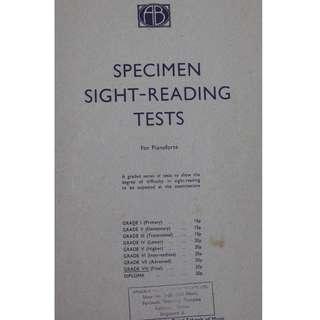 Music book :  Specimen Sight - Reading Tests ( Grade 8 )
