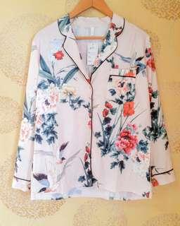 Floral satin pyjama top