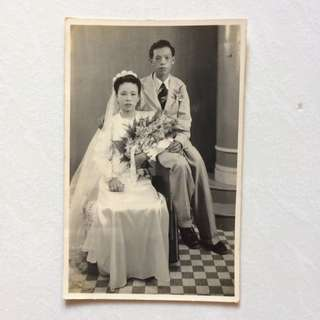 Vintage Old Photo - old Black & White photograph showing Wedding Couple (13 by 9 cm)