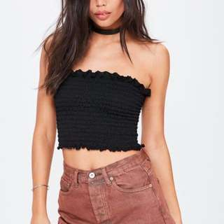 Instock! - BNWT Brandy Melville Kessy Top Inspired // Ruched Smocked Ruffle Hem Edge Cropped Bandeau Tube in Black