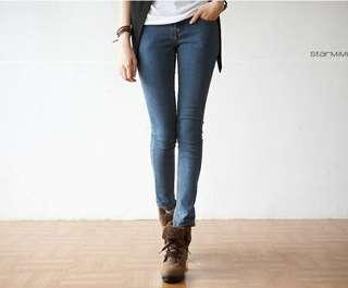 (全新包郵)直筒口袋拼色牛仔褲 skinny jeans L碼
