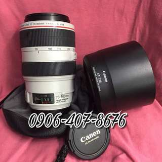 Canon zoom Ef 70-300mm F5.6 L IS USM lens with pouch red ring