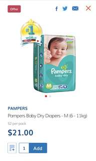 Pampers Baby Dry Diapers Pants Size M Brand New