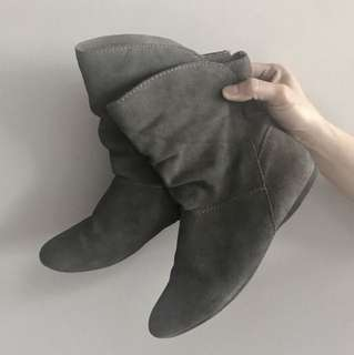 Grey Leather boots winter autumn casual