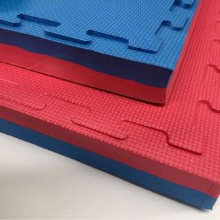 Blue/Red Gym Flooring Mats Interlocking 1 x 1 meter x 40mm