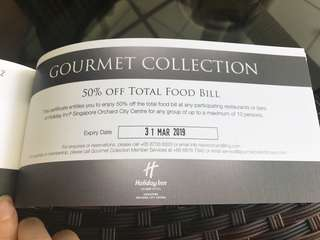 50% off total food bill at selected participating hotels