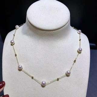 清新脫俗最受客戶喜愛的款式之一,日本akoya海水珍珠滿天星項鍊7-7.5mm,18K金豆豆,長度45cm,春夏必備單品🤗