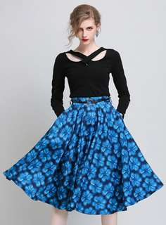 AO/HZC070642 - High Waist Floral Flouncing A-Line Skirt