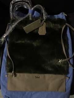 全新Bauhaus Salad 星星 毛毛 真皮 bag backpack 側背袋 手挽 索繩 袋 可作 背包背囊 棕啡