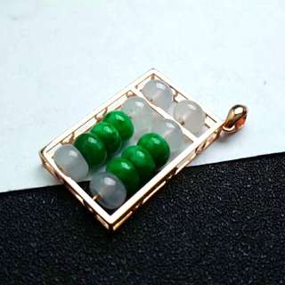 🎇18K Gold - Grade A Icy White n Spicy Green Abacus 算盘 Jadeite Jade Pendant🎇