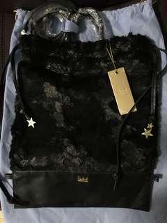 全新Bauhaus Salad 星星 毛毛 Fur 真皮 Leather bag 側背袋 手挽 索繩 袋 可作 背包背囊