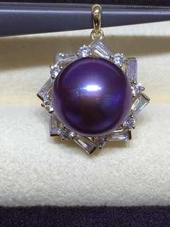 14K金12一13mm極品濃郁紫,純天然色愛迪生珍珠吊墜,紫的讓人驚豔😍