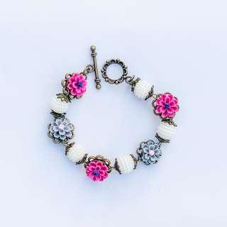 Vintage Floral Flower Handmade Bracelet